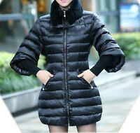 GOOSE DOWN, WOMEN WINTER JACKET WITH NATURAL RABBIT COLLAR