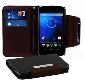 Black PU leather Litchi Type wallet case cover skin for LG E960