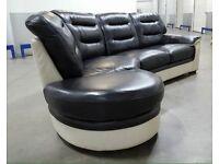 💥 DFS - White/Black Real Leather L Shape Corner Sofa