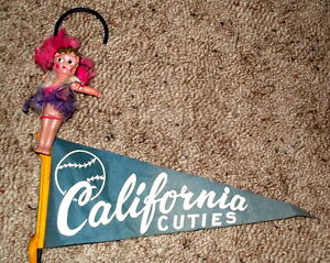 Cupie doll and pennant on cane from 1950's- $25