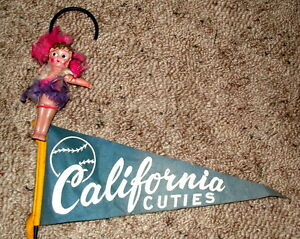 Vintage Kewpie doll and pennant on cane from 1950's- $25