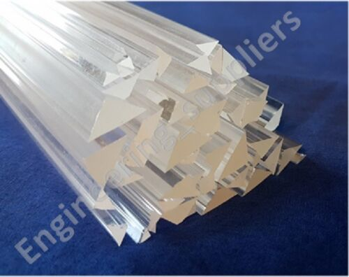 3, 4, 5, 6, 8, 10mm Right Angled Triangle Section Corner Fillet Clear Acrylic
