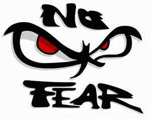 Exterior car art sticker great NO FEAR RED EYES 100mm x 70mm  SS183