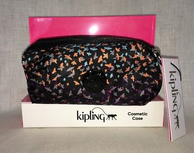 NWT KIPLING AC7212 $24 COSMETIC CASE black multi-color birds