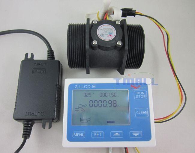 2 inch Flow Water Sensor Meter+LCD Display Controller 5-280L/min+ 24V Power