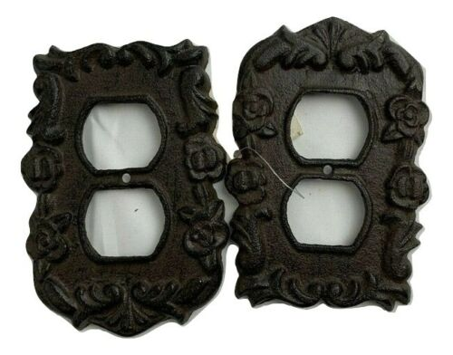 Home Accents Rustic Cast Iron Ornate French Electric Outlet Plate Cover set of 2