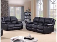 New Black Leather 3 2 Recliner Sofas Couch Settee