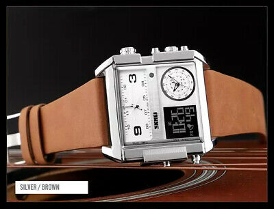 SKMEI Retro Square Watch Mens Leather w Japan Seiko Mvmt Dual LCD Digital 3 -