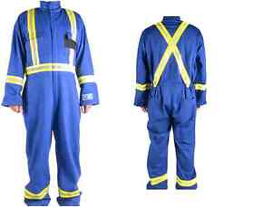 PROGRADE PYROSTOP WATER/PIL PROOF COVERALLS, SAFETY STRIPING