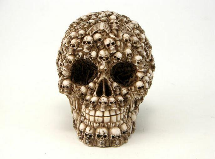 Human Skull Decorated with Skeletons and Skulls Halloween Figurine