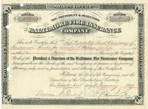 1899 Baltimore Fire Insurance Co Stock Certificate