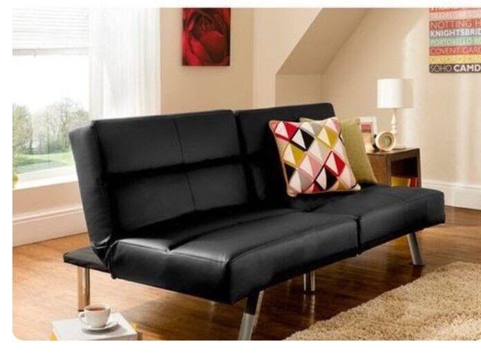 Asda George Home Black Faux Leather Click Clack Sofa Bed Futon Vgc