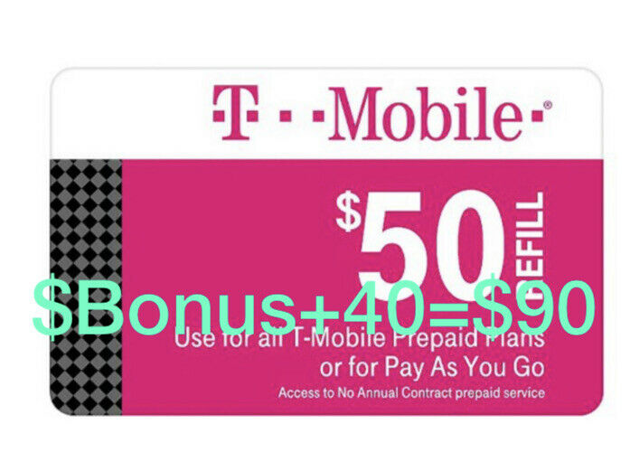 T-Mobile Prepaid Refill Card $50 (DIRECT REFILL)  Comes With Bonus $40