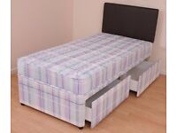 Brand New -- Single Divan Bed with Memory Foam/Ortho/Quilt Mattresses -- Same Day Free Delivery
