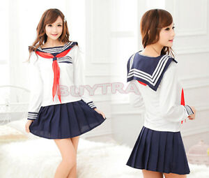 Japanese School Girl Dress Outfit Sailor Uniform Losplay Lostume Fancy Dress ^G