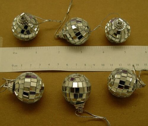 "LOT of 48 Mirror Ball Ornaments 1-1/8"" Miniature Disco Ball with Cord ~ Sparkle"