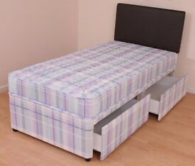 **EXCLUSIVE SALE**BRAND NEW 3ft SINGLE DIVAN BED BASE WITH MEDIUM FIRM ORTHOPAEDIC DIVAN MATTRESS