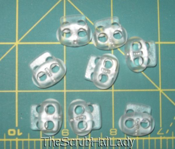 100 ct mini clear frost bean cord lock toggle 2 hole frosted mfn