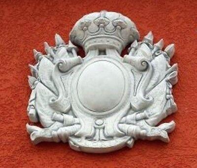 Fassadenstuck, Wandbild, Wappen 88 cm, Skulpturen, Fassadenschmuck, Gartendeko,