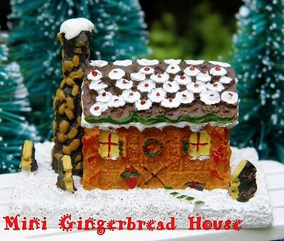 MINIATURE DECORATED GINGERBREAD HOUSE for Holiday Dollhouse Decor Hand Painted - Gingerbread Decor