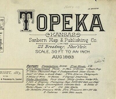 Topeka, Kansas~Sanborn Map© sheets~ with 28 maps on a CD~1883, 1885 in color
