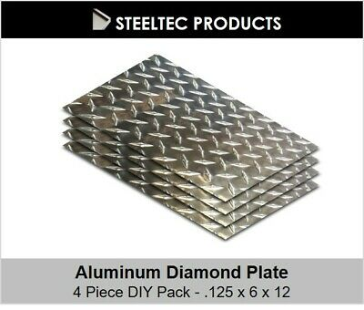 4 Pack - 18 .125 Aluminum Diamond Plate Sheet 6 X 12