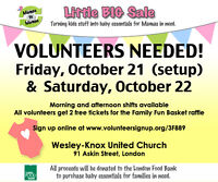 Volunteers needed for the Mamas to Mamas Little BIG Sale!
