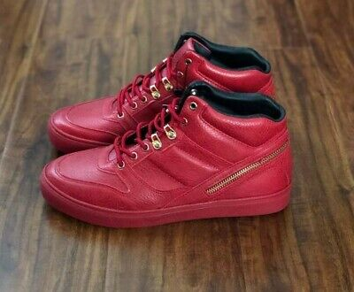 ZARA MAN RED QUILTED HIGH-TOP FASHION SHOES Size US 8 UK 41 Brand New