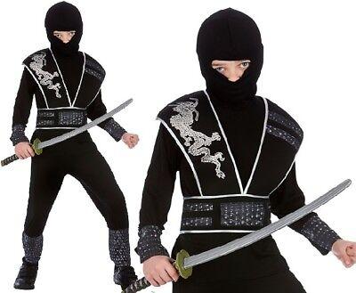 Ninja-outfit (Childrens Fancy Dress Ninja Elite Shadow Costume Childs Ninja Outfit New w)