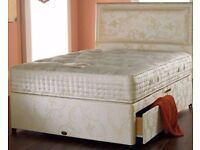 💥CLASSIC SALE 💥 Divan bed base. 4 colours storage headboard and mattress = 4ft6 DOUBLE 5ft KING