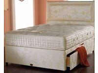 NEW WHITE AND BLACK BASE MEMORY FOAM DIVAN BED SET WITH MATTRESS HEADBOARD 3FT 4FT6 Double 5FT