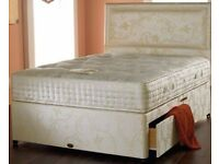 AUG SALE BRAND NEW DOUBLE DIVAN BED BASE IN BLACK /WHITE COLOUR w DEF SIZE OF MATTRESSES + HEADBOARD