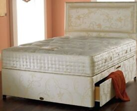 50% SALE! BRAND NEW DOUBLE DIVAN BED WITH DEEP QUILT MATTRESS -- SAME DAY FAST DELIVERY -0- BUY NOW