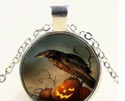 HALLOWEEN PUMPKIN BIRD CROW pendant Silver 20
