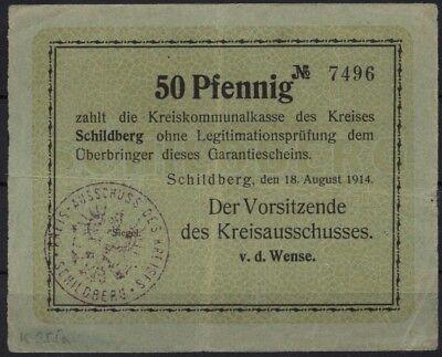 [14296] - NOTGELD SCHILDBERG (heute: Ostrzeszów), Kreis, 50 Pf, 18.08.1914. Dieß