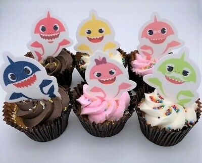Baby Shark & Family Precut Cupcake Toppers Edible Cake Decorations Kids Birthday
