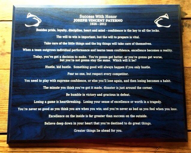 Laser Engraved gift - Penn State Joe Paterno famous sayings - motivational