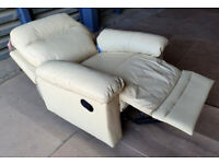 Manual Recliner Leather Chair - Ivory.