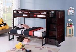TWIN OVER FULL BUNK BED WITH STAIRCASE AND DRAWERS IN ESPRESSO *MATTRESSES SOLD SEPARATELY
