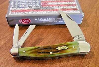 CASE XX New Moss Brown Jigged Bone Handle 3 Blade Seahorse Whittler Knife/Knives