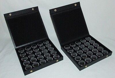 2 Pack Gem Storage Textured Top Cases With 25 Jars Each Black Foam