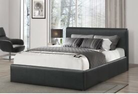 Double black leather bed