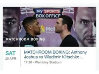 2 tickets with coach trip included from leicester Anthony Joshua v klitschko