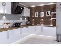 White gloss kitchens