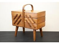 Retro 1950's beech wood cantilever sewing box