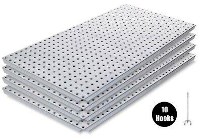 Alligator Board Metal Pegboard Panel Kit 4 With Flange And 10 Hooks