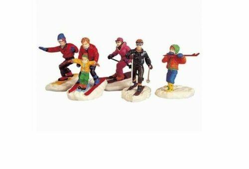 Lemax Christmas Village Town Winter Fun 92357 Set of 5 Family Skiers