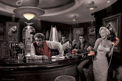 Poster CHRIS CONSANI - Bar - Java Dreams (Bogart, Elvis, Monroe, Dean) NEU 58061