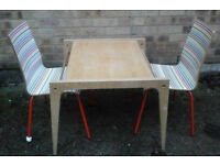 Childs wooden table and2 x funky patterened chairs