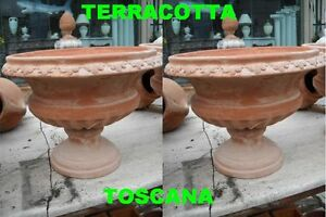 COPPIA-DI-VASI-IN-TERRACOTTA-TOSCANA-ANFORA-ORCIO-VASO-CM-48X38-COPPA-CALICE